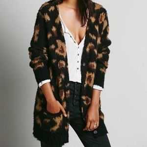Free People Boyfriend Oversized Wool Blend Out Of Africa Fuzzy Cardigan